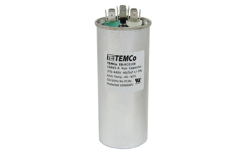 TEMCo Dual Run Capacitor RC0108-40/5 mfd 370 V 440 V VAC Volt 40+5 uf AC Electric Motor HVAC