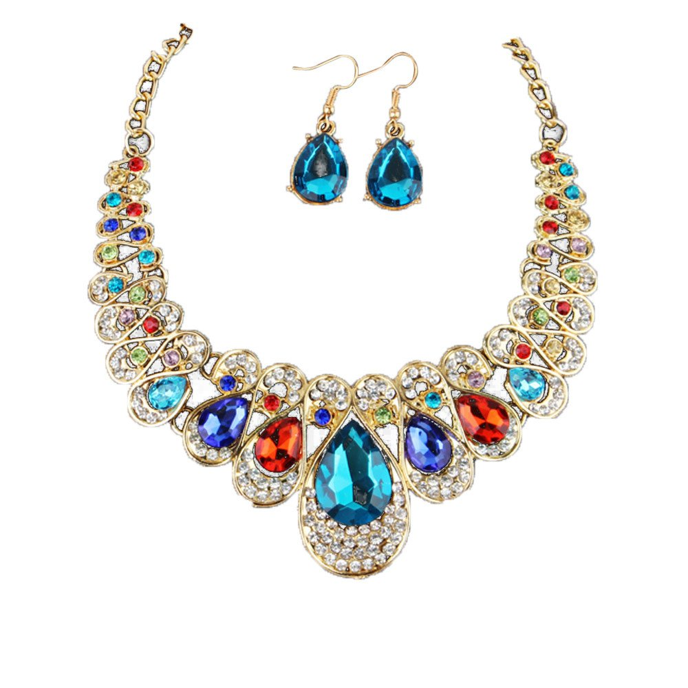 Gold Fashion Necklaces for Women,Women Fashion Crystal Necklace Jewelry Statement Pendant Charm Chain Choker,Multicolor