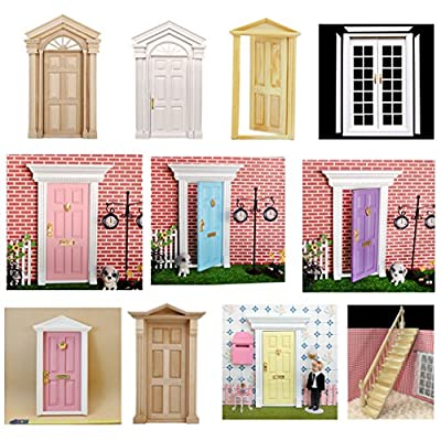 1:12 Dollhouse Miniature Wooden Exterior Door 6 Panel: Toys & Games