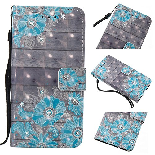 For Huawei P9 Lite Case Maetek Bling Diamond 3D Colorful Pu Leather Flip Wallet Cover Shockproof Full Protective With Card Slot For Huawei P9 Lite Blue Flower