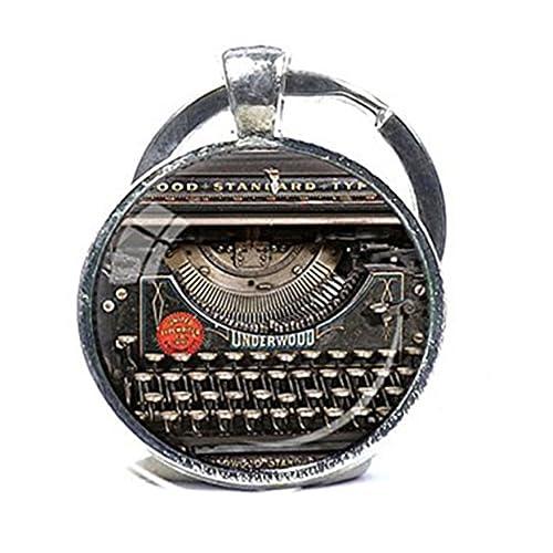 Vintage máquina de escribir llavero grabador grabadora de regalo para máquina de escribir llavero llavero del escritor negro rojo gris Vintage teclado ...