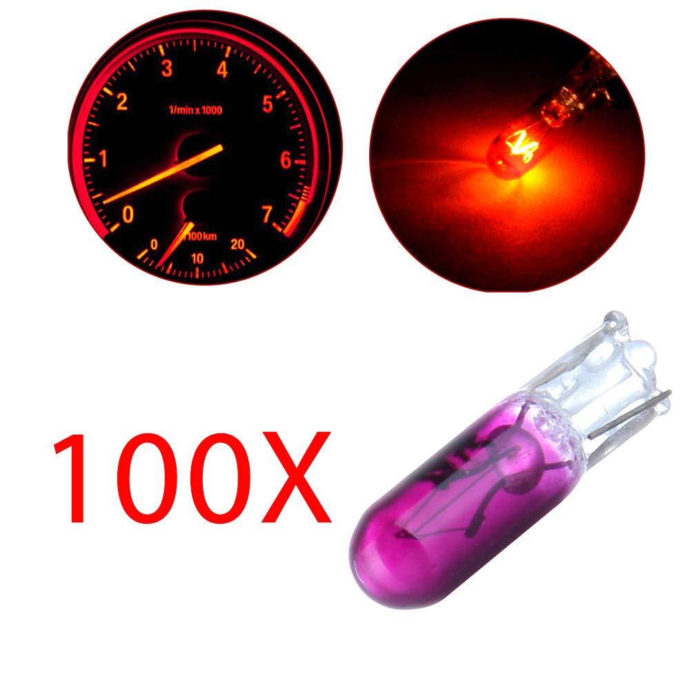 cciyu 100Pcs Purple T5 Halogen Light 37 74 286 LED Interior Light Bulbs Imstrument Dashboard Panel Incandescent Light 992018-5210-1553271993
