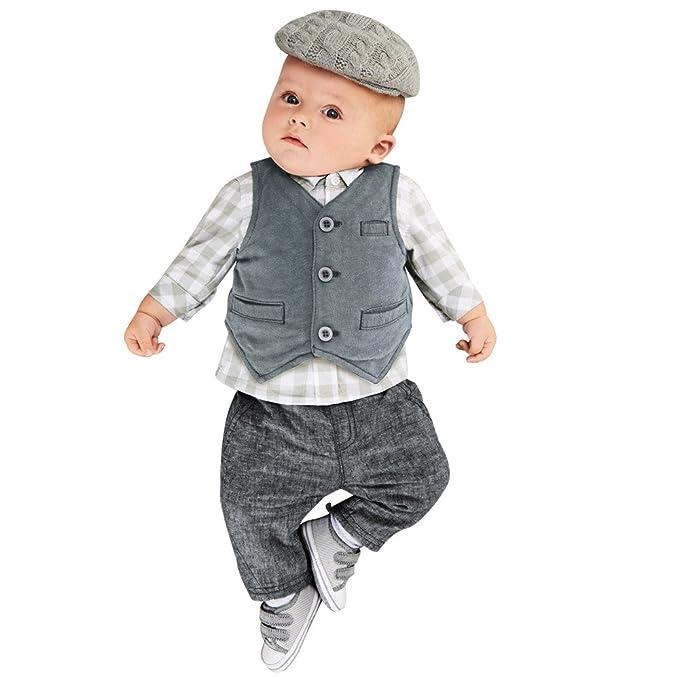 YanHoo Ropa para niños Conjunto de Ropa Formal para bebés bebés, Traje Formal, Traje de Fiesta Tops + Pantalones + Chaleco Traje de Tres Piezas del Chaleco ...