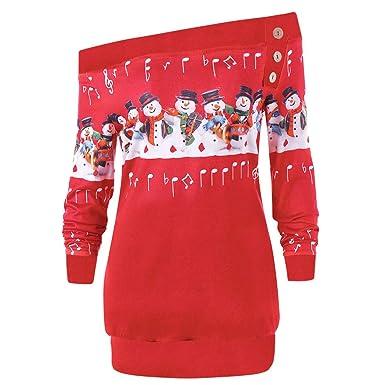 new style 12d95 5197d Briskorry Weihnachtspullover Damen Weihnachten Langarm Sweatshirt Bluse  Frauen Christmas Pullover Santa Claus Druck Kapuzenpulli Strickpullover  Jumper