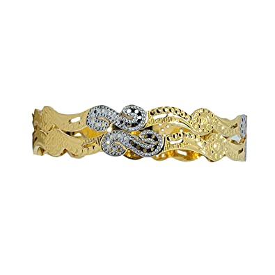 f4f3343e98f JJ Bangles 1 Gram Gold Plated Golden and Silver Embossed Designed Bangles  Set of 2 (