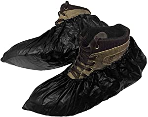 50 Pack Disposable CPE Black Shoe Covers. Polyethylene Boot Covers for Real Estate, Food Processing. Shoe Covering. Heavy-Duty Water-Resistant Protection for Shoes
