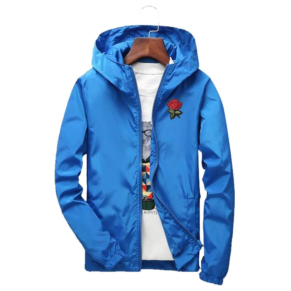 minRan ビッグメンズスリムフィット軽量ソフトシェルフライトボンバーローズジャケットフード付きパーカーコート B07JCLPS4F Blueb S S Blueb
