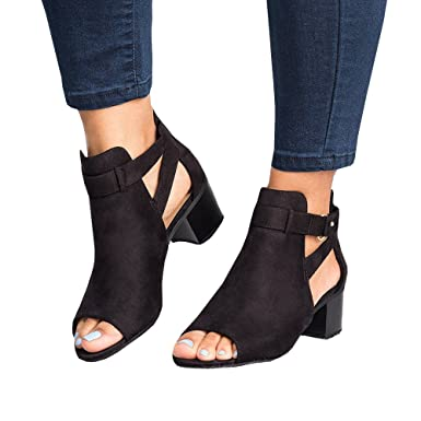 1b4f30a20e979 Amazon.com: Nailyhome Women's Flat Low Chunky Heels Cut Out Ankle ...