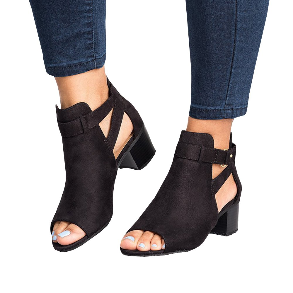 SySea Womens Low Heel Ankle Buckle Boots Slip On Cut Out Wedge Block Stacked Peep Toe Platform Ankle
