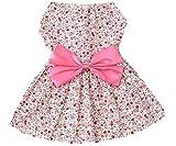 New Spring Summer Pet Dog Skirt Lady Dog Dress Floral Skirt Small Dog Princess Bow Dress Pink L by KUANG YANZI