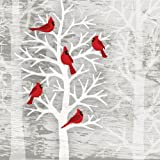 Paperproducts Design 7044 Holiday Paper Napkin for Cocktail, 5 by 5-Inch, Christmas Cardinals