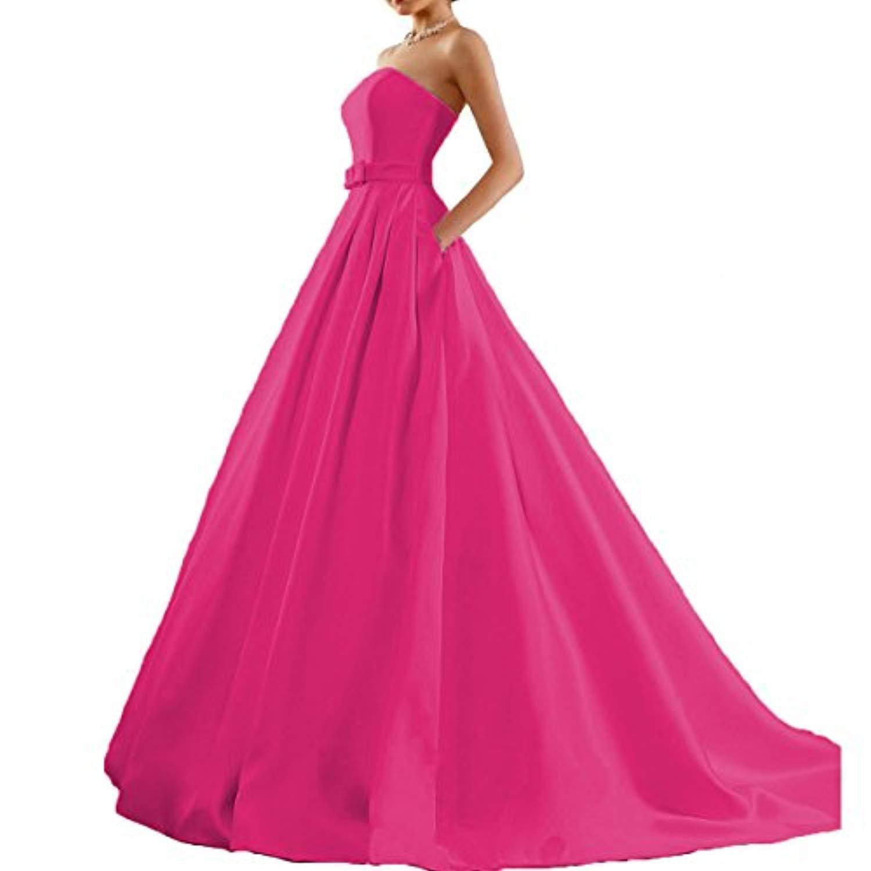 Fuchsia M Bridal Women's Satin Strapless Prom Dresses Aline Evening Ball Formal Gown