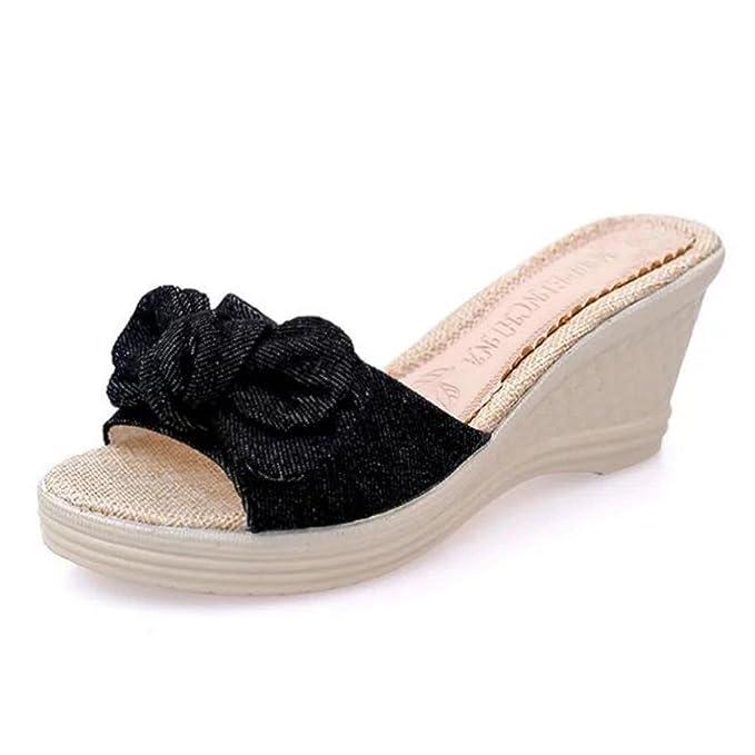 055e804858932f Creazrise Womens Platform Waterproof Slippers Ladies Bow Wedge Flip Flop  Black (Black