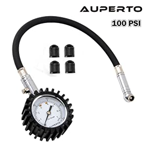 Tyre Pressure Gauge,AUPERTO Heavy Duty Car & Motorbike with Flexible Hose - 100PSI