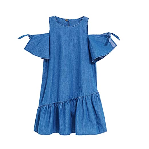 9247faf4269 Huifa Toddler Girls Denim Splice Sleevless Dress Tulle Party Princess Gown ( Blue