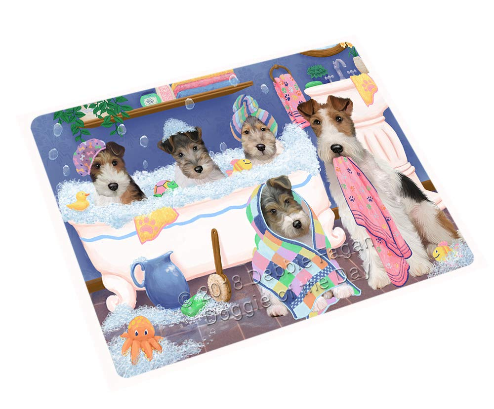 Doggie of the Day Rub A Dub Dogs in A Tub Wire Fox Terriers Dog Blanket BLNKT130944 (50x60 Plush)
