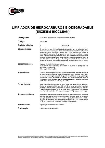 Limpiador de hidrocarburos biodegradable. Enzikem bioclean. Envase ...