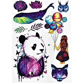 Justfox – Tatuaje temporal, diseño de gato panda y ballena: Amazon ...