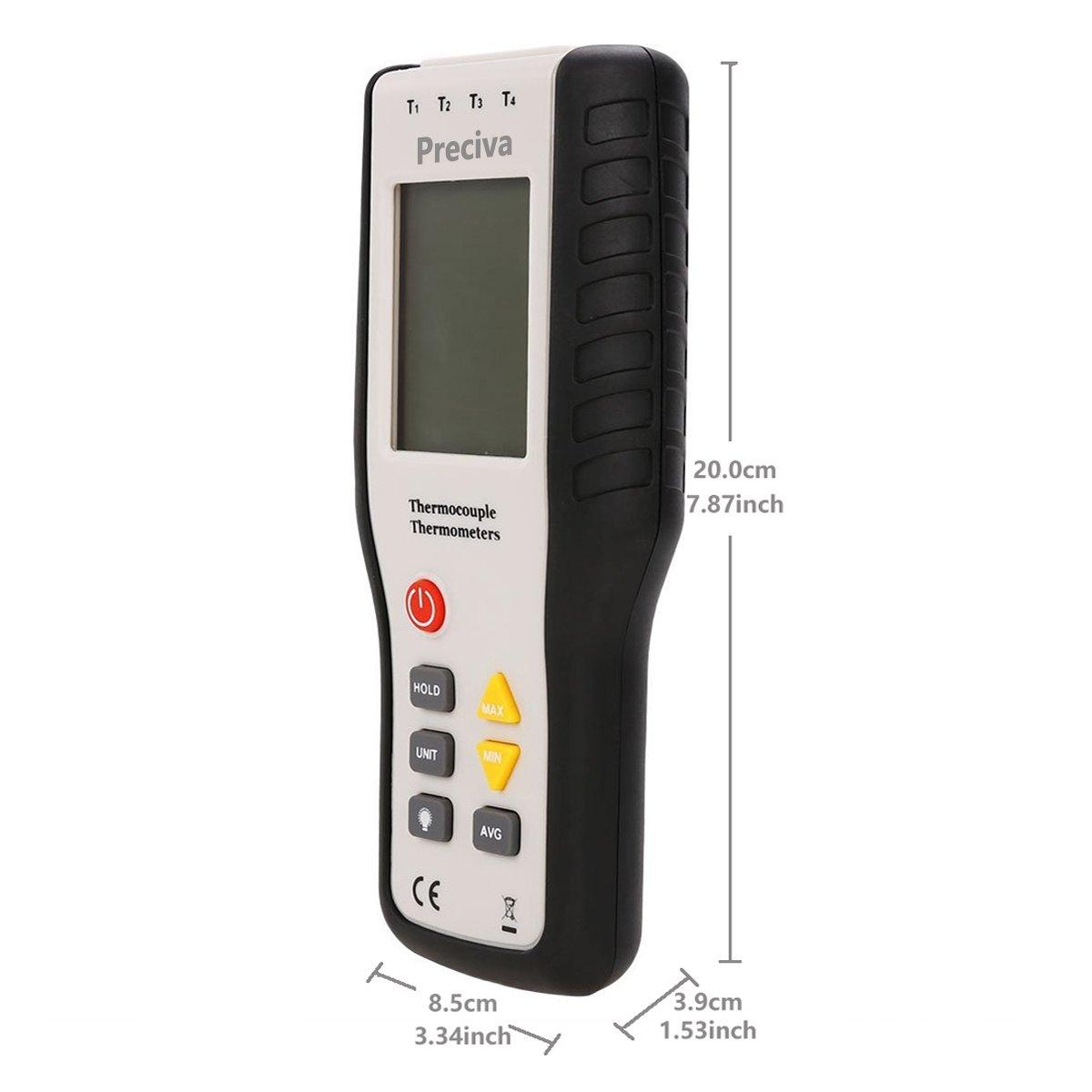 Termómetro Digital de Termopar, Preciva 4 canales Metal Sonda de K-Tipo Termopares Termómetro Sensor Rango de medición 200 °C ~ 1372 °C (-328 °F ~ 2501 °F): ...