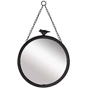 "NIKKY HOME 11.25"" Vintage Round Metal Framed Wall Mounted Mirror with Bird, in Matt Black"