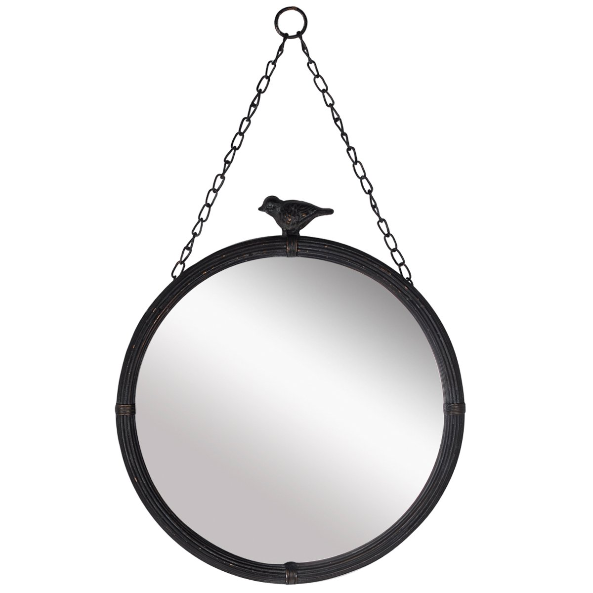 NIKKY HOME 11.25'' Vintage Round Metal Framed Wall Mounted Mirror with Bird, in Matt Black