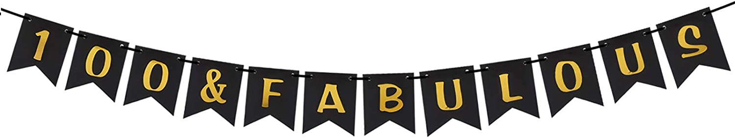 100 & Fabulous Pre-strung Gold Black 100th Birthday Banner One Hundred Year Old Birthday Party Decorations for Men Women