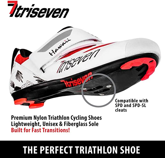 Triseven Premium Nylon Triathlon Cycling Shoes Lightweight USA Unisex /& Fiberglass Sole Black