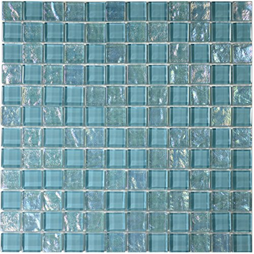 Turquoise and Iridescent Glass Tile Blend 1