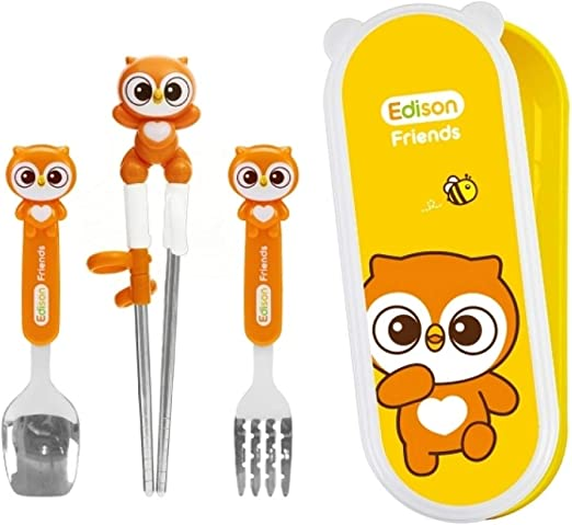 Pororo Stainless Training Chopsticks//Spoon//Case Set Edison Right Handed Free BPA