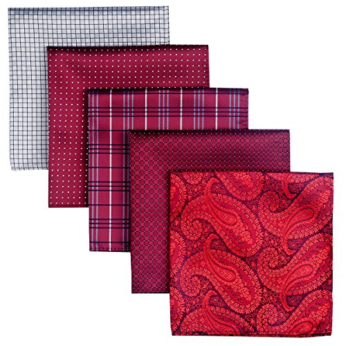 Retreez 5 Piece Assorted Woven Microfiber Premium Pocket Square Gift Box Set - Set 003