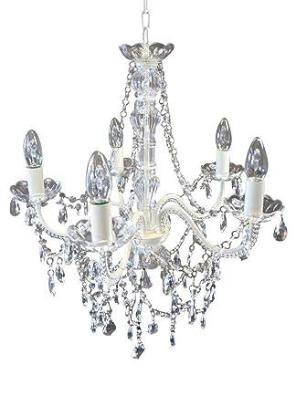 Lieblich Livitat® Kronleuchter Ø 52 Cm Lüster Kristall Leuchter Weiß LV3020