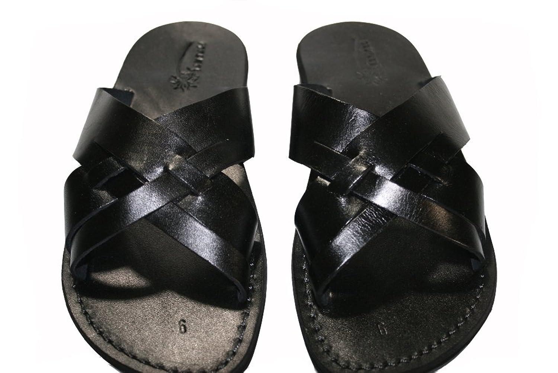 Black Capri Unisex Leather Sandals / Genuine Handmade Leather Holy Land Biblical Jesus Sandals