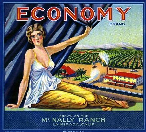 La Mirada Orange County Economy Orange Citrus Fruit Crate Label Art Print