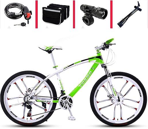 AP.DISHU Bicicleta de montaña, Bicicleta Estudiantes Masculinos y Femeninos Carretera Frenos de Disco de Doble Velocidad de 30 velocidades Bicicleta de 26 Pulgadas para Adultos Off-Road Light,26 Inch: Amazon.es: Hogar