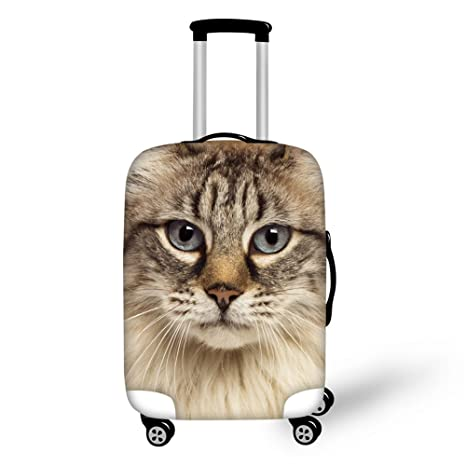 1b76fd49542e INSTANTARTS Fashion Kitten Brown Elastic Luggage Covers for 18-22 inch  Suitcase S