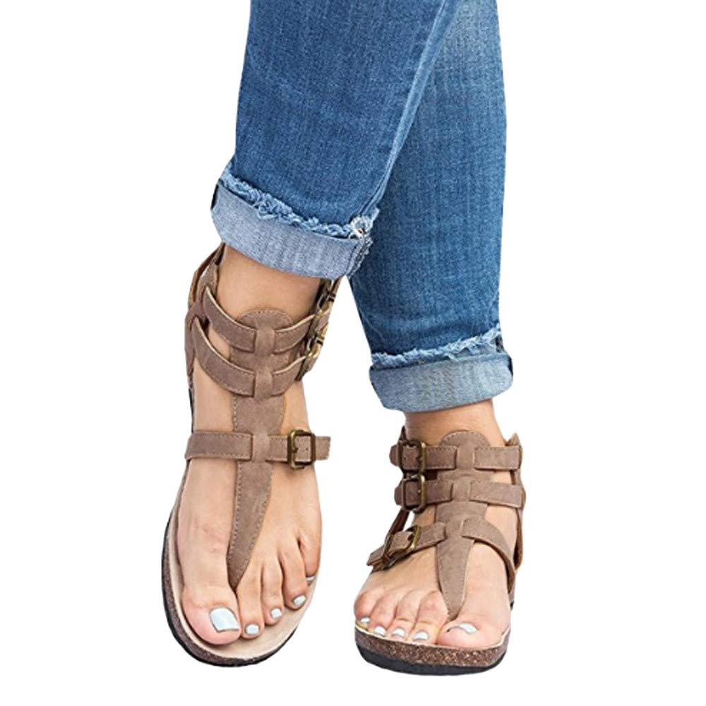 Wobuoke Womens Summer Roman Gladiator Flip Flop Straps T-Strap Thong Flat Shoes Sandals