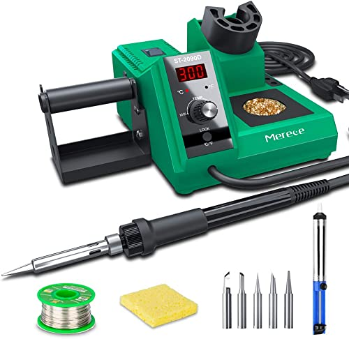 Soldering Iron Station Kit, Merece 65W Digital Solder Kit 176 -896 w Temperature Control C F , Standby Sleep, Temperature Lock, 5 Extra Solder Tips, Tip Cleaner, Wire, Sucker – Fast Heating Up