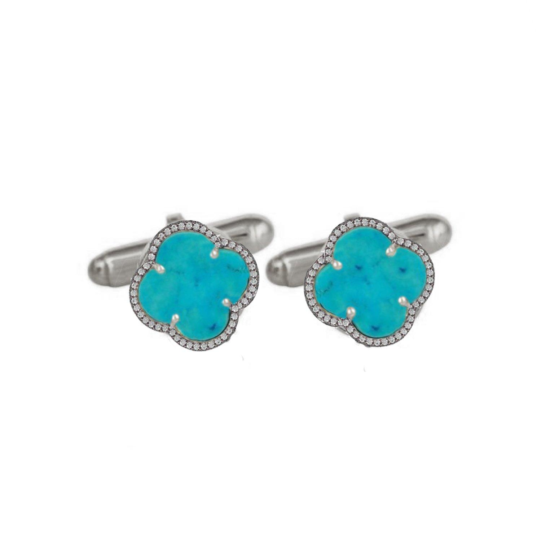 Pave Diamond Cuff links 925 Silver Turquoise Gemstone Clover Men's Jewelry Wholesale by Jaipur Handmade Jewelry