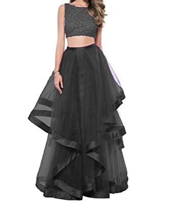 Angela Womens Beaded Two Piece Prom Dresses Long Layered Evening Party Gowns Black 2