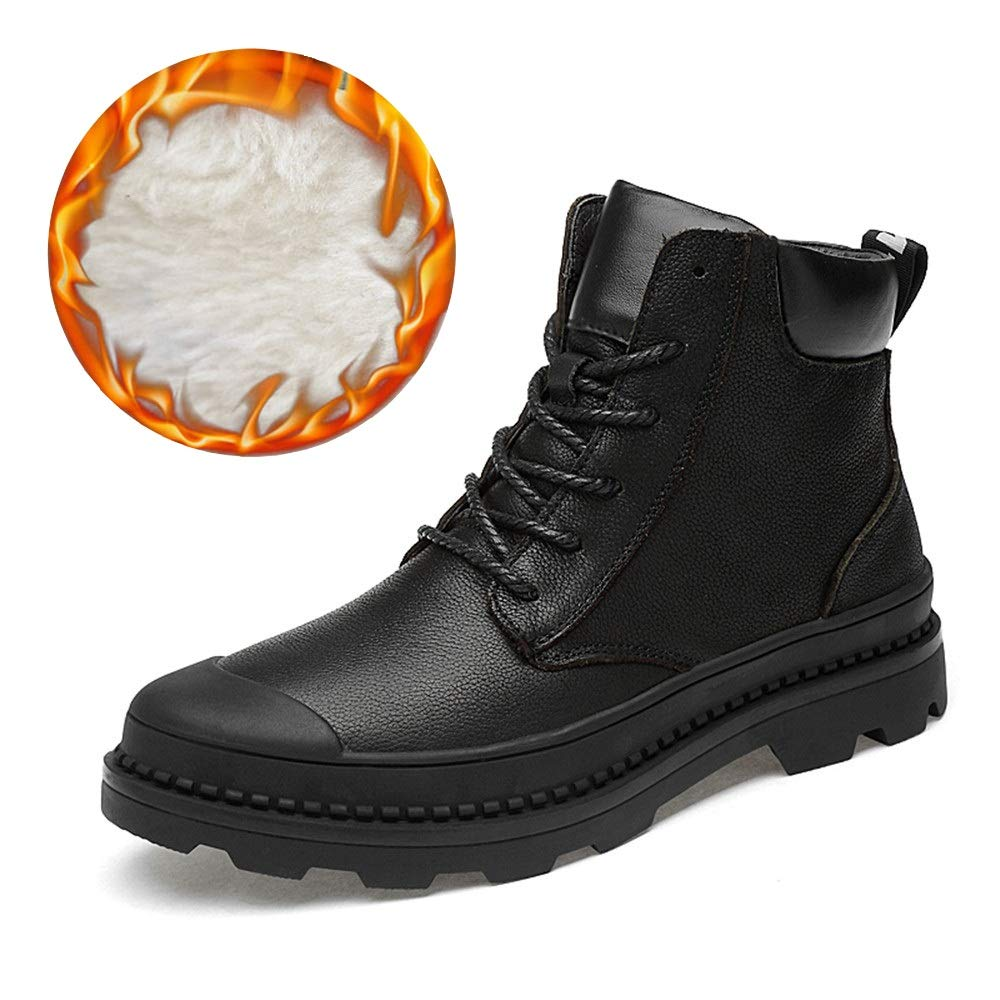 BND-schuhe , Herrenmode Stiefeletten Lässig Neu High-Top Schnürung Wasserdichte Outdoor Stiefel (Warm Samt Optional) dauerhaft; Standverschleiß (Farbe   Warm schwarz, Größe   46 EU)