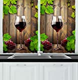 Winery Kitchen Decor Ambesonne Kitchen Decor Collection, Wine Glass Grapes Rustic Wood Kitchenware Home and Cafe Interior Art Design, Window Treatments for Kitchen Curtains 2 Panels, 55X39 Inches, Brown Green Burgundy