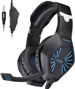 PECHAM ps4 Gaming Auriculares con micrófono para Xbox Nueva uno, PS4, Nintendo Switch, PC-Sonido Envolvente, reducción de Ruido Auricular Juego-fácil Control de Volumen-Jack de 3,5 mm: PlayStation 4: Amazon.es: Videojuegos