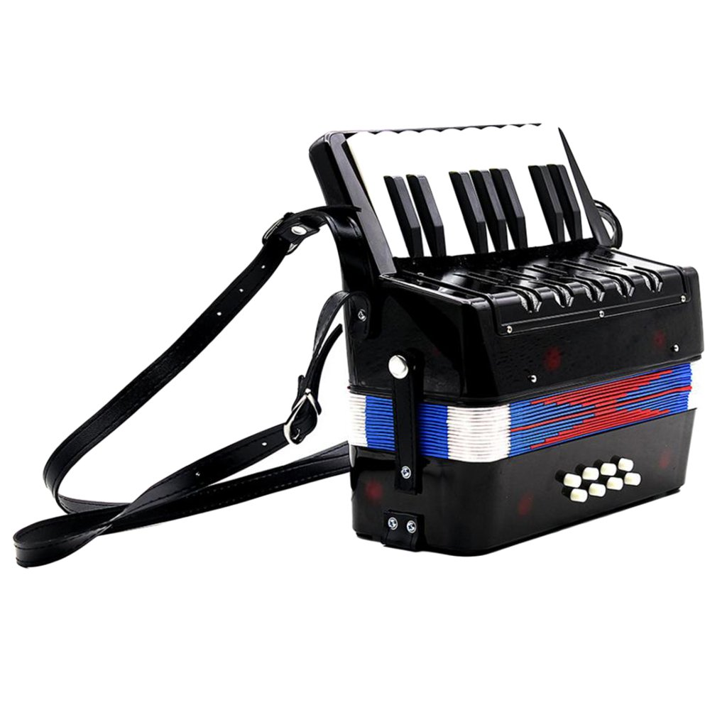 Dovewill 17 Key 8 Bass Small Accordion Children Student Music Instrument Toy Xmas Gift Black