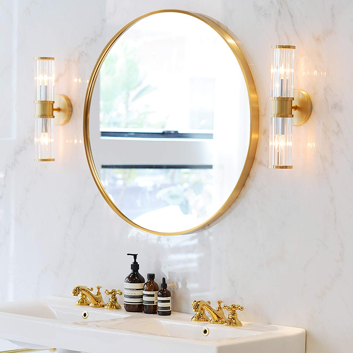 SHIGAKEN 31.5 Inch Round Mirror, Gold, Brushed Metal Frame, Large Home Decor, for Bedroom, Bathroom, Living Room, Entryway, Wall Decor, Vanity