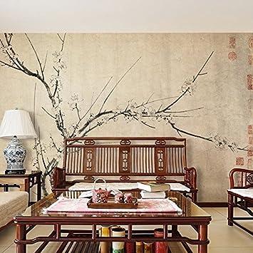 HUANGYAHUI Wandbilder Chinesische Klassische Pflaumenblüten Tapete Retro  Kunst, Wohnzimmer Tv, Wandmalerei, Handbemalte Chinesische