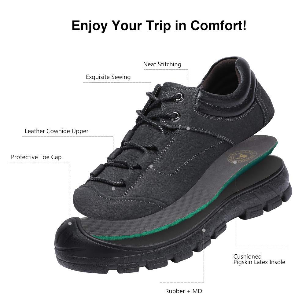 Mens Anti-Slip Leather Hiking Shoes, Waterproof Outdoor Soft Sneaker for Trekking,Walking,Daily Wear