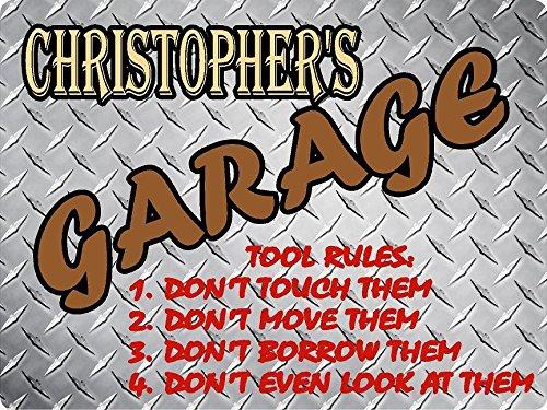 "CHRISTOPHER Garage tool rules diamond plate design parking décor sign 9""x12"" PLASTIC."