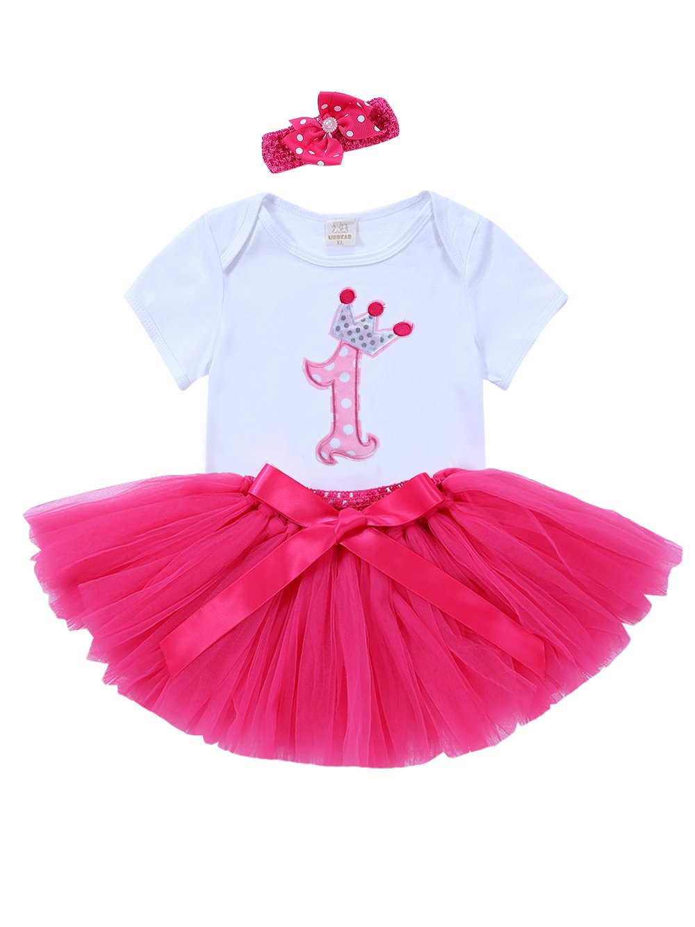 URBEAR 3pcs Baby Girls primo tutu di compleanno + pagliaccetto + cerchietto Rose Rosso 1st Birthday tutù Set, 12-24 mese A80602MH-D1XL