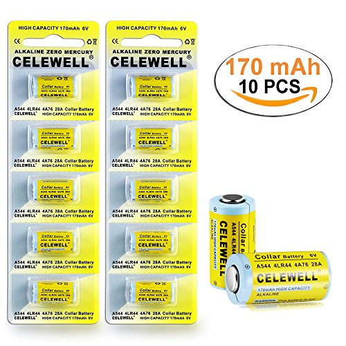 4LR44 6V Battery for Dog Collar/Pet Training Collar 170mAh 3 Years Warranty Alkaline Batteries K28A/A28PX/4A76/A544/L1325/V34PX/28A 10 Pack CELEWELL - Voltage Alkaline Battery