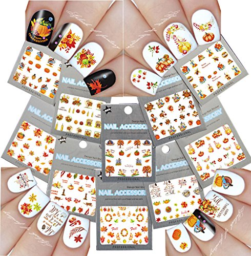 Nail Art Water Slide Tattoo Decals ♥ Fall Into Fun Thanksgiving Theme - 10 Pack]()